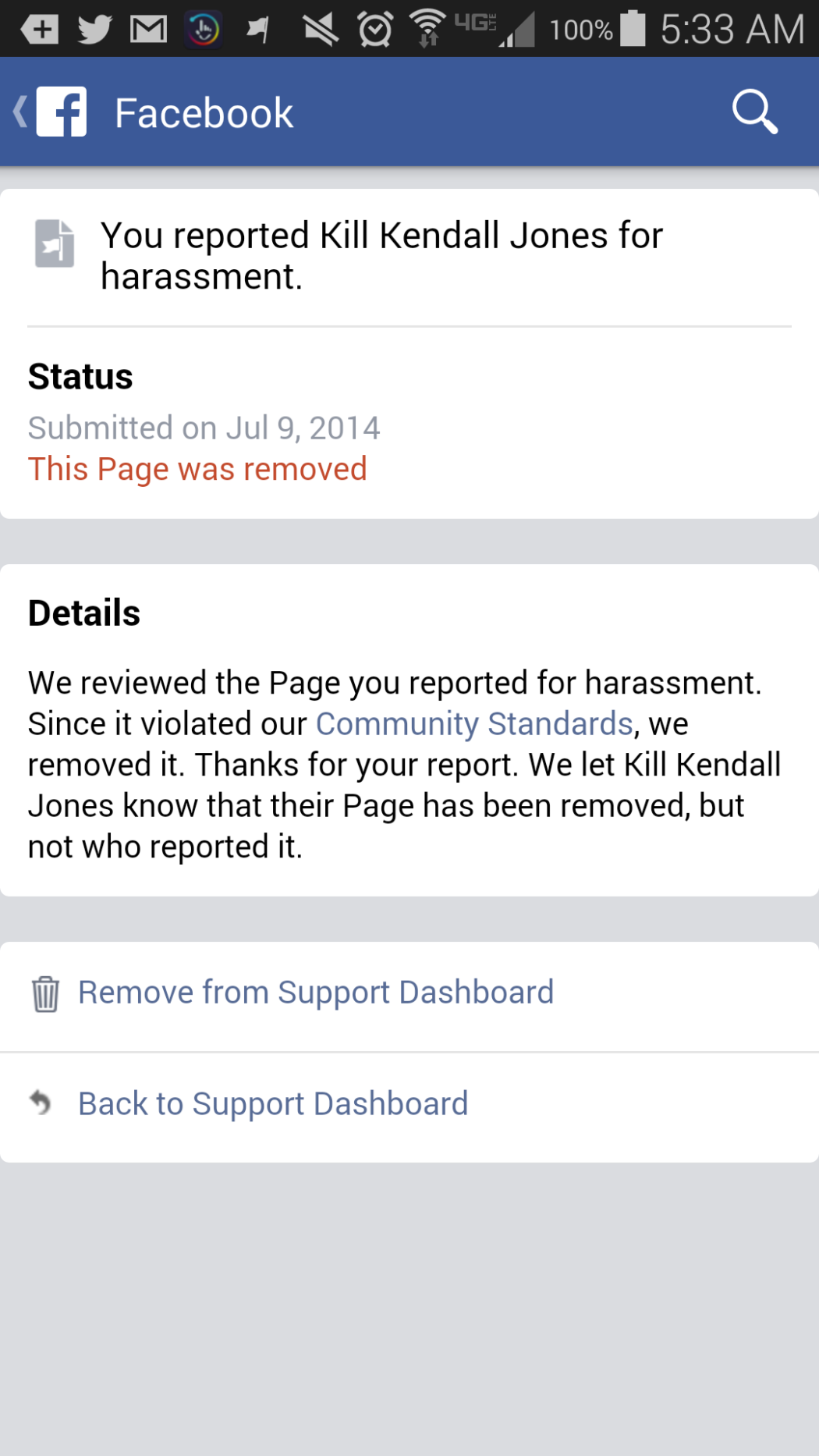 "SUCCESS! REMOVED ""Kill Kendall Jones"" facebook page ..."